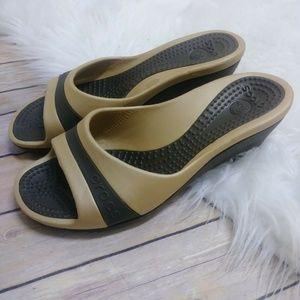 Crocs Sassaria Comfy Slip On Heels Wedge size 10